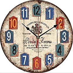 Creative Wooden Wall Clock 11.8 in MDF Silent Quartz Living Room Wall Clock (Blue)