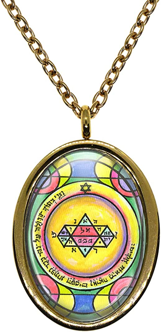 My Altar Solomons 5th Jupiter Seal for Manifestation /& Psychic Visions Gold Stainless Steel Pendant Necklace