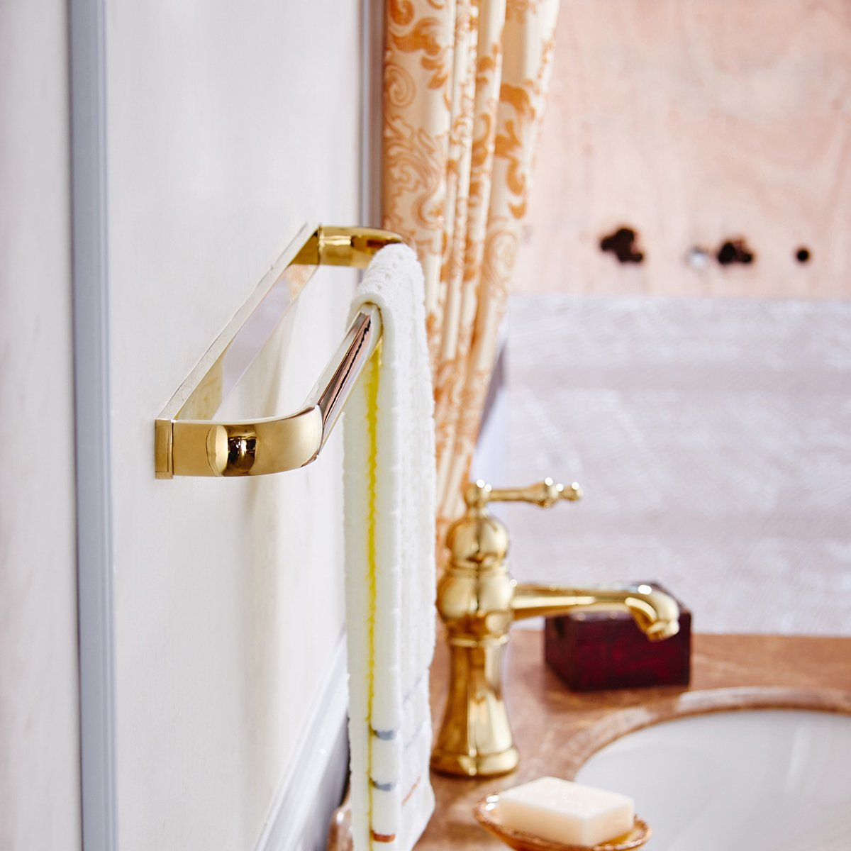 Aothpher Wall Mounted Bathroom Approx 24 Inch Double Towel Bar Rack Towel Rail Holder Gold Polished