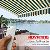 ADVANING Electric Luxury L Series, 12'x10', Semi-Cassette Top Quality Window/Door Cloth Cover Canopy Sun Shade Retractable Patio Awning, Garden Green with Sand Beige Stripes, Model: EA1210-A808H2