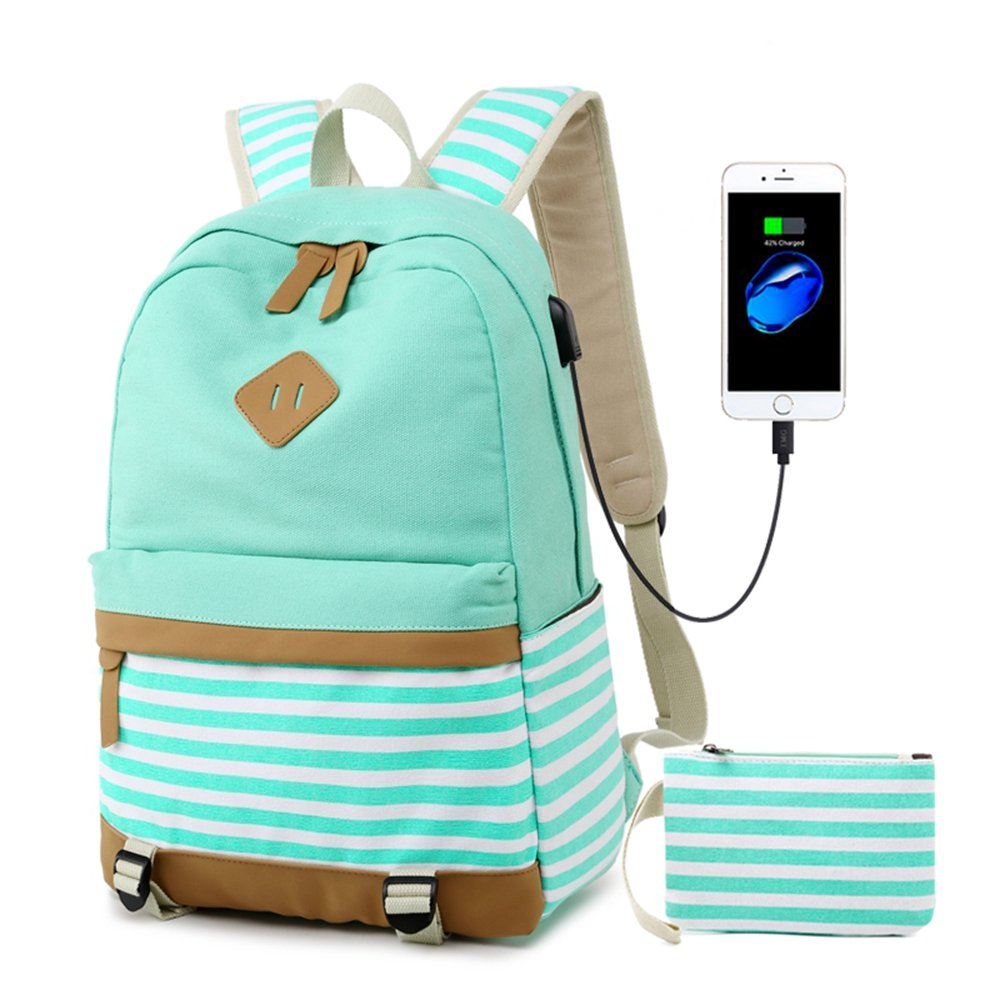 Canvas Backpack College Laptop USB Bookbag Casual Travel Daypack Backpack for Teen Girls and Women (Green)