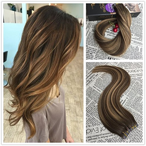 Moresoo Tape in Hair Extensions Remy Human Hair 14inch 20PCS 50G Glue in Human Hair Extensions Brazilian Remy Hair Seamless Skin Weft Hair Balayage #4 Brown Ombre #27 Blonde Mixed #4 Tape in Hair
