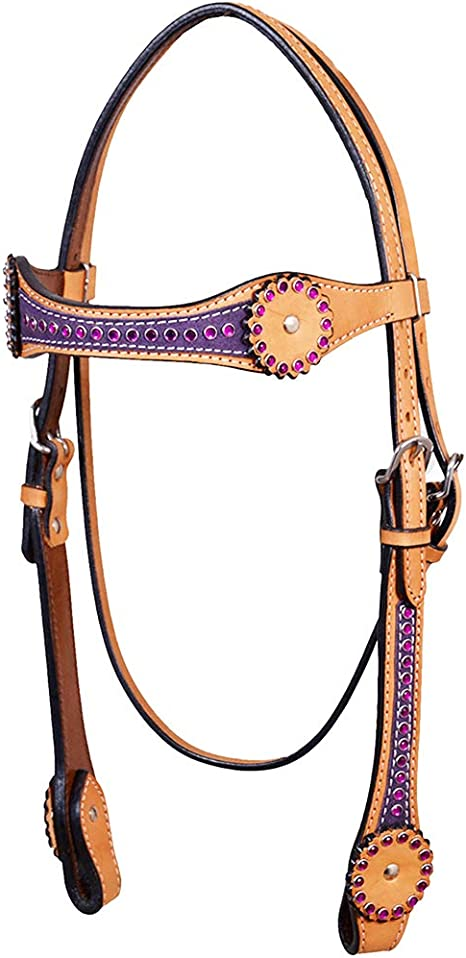 C-K-HS Western Horse Headstall Tack Bridle American Leather Black Hilason
