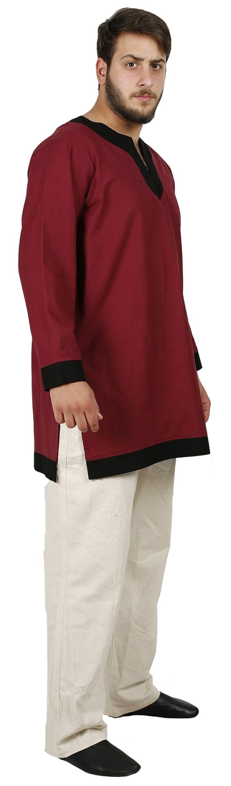 byCalvina - Calvina Costumes Arthur Medieval Viking LARP Renaissance Mens Cotton Tunic- Made in Turkey, L-BRG/BLC