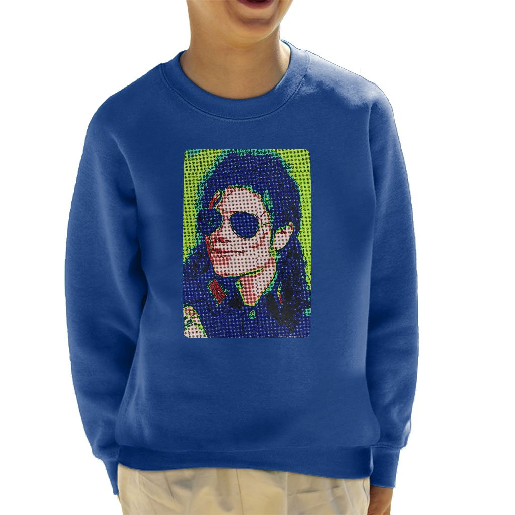 POD66 Michael Jackson Sunglasses Neon Pixelated Effect Kid's Sweatshirt