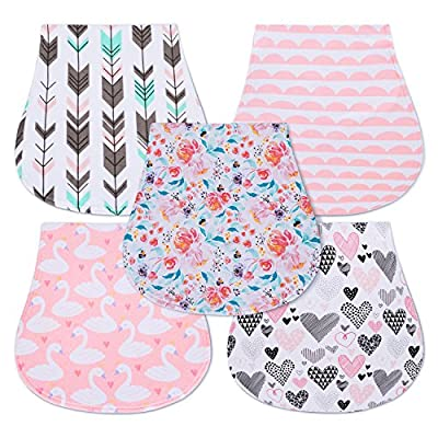 5-Pack Baby Burp Cloths for Girls, Triple Layer, 100% Organic Cotton, Soft and Absorbent Towels, Burping Rags for Newborns Baby Shower Gift Set by MiiYoung by Dongyang Owang Industrial Co., Ltd. that we recomend individually.