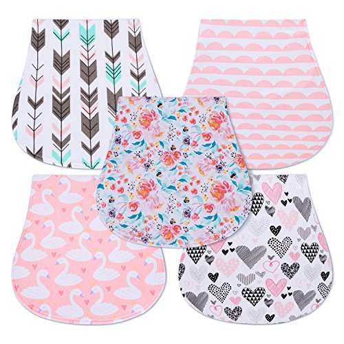 5-Pack Baby Burp Cloths for Girls, Triple Layer, 100% Organic Cotton, Soft and Absorbent Towels, Burping Rags for Newborns Baby Shower Gift Set by MiiYoung (Clothes Girls)