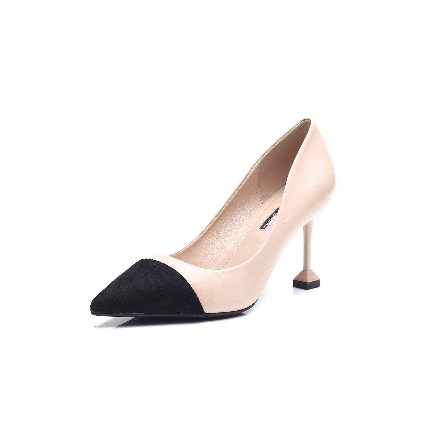 European and American high-heel shoes personality spell color high heels tip fine with single shoes women shoes, beige (8CM),37