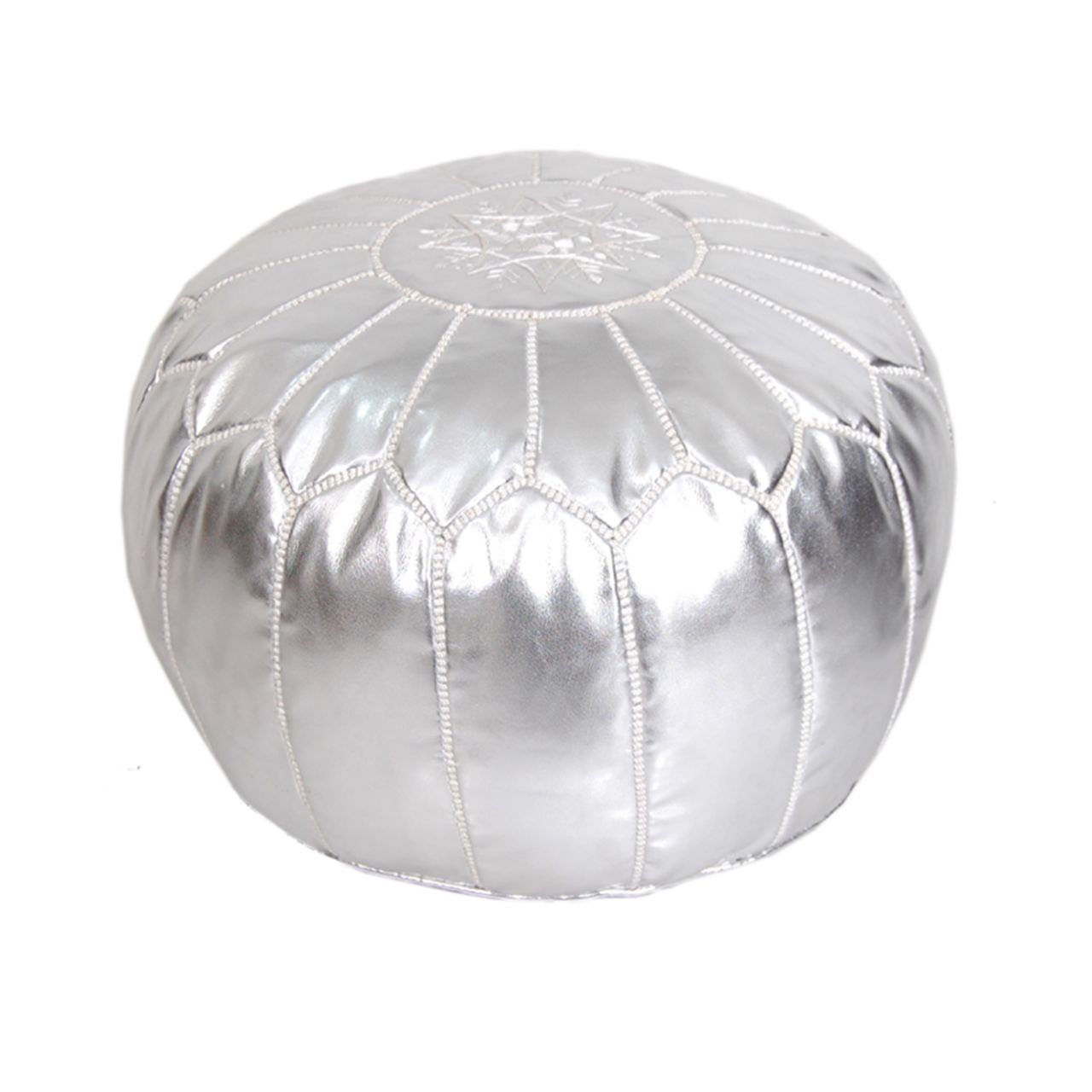 Moroccan Pouf Ottoman Footstool (Faux Leather) Genuine Hand-Stitched Seating | Unstuffed | Living Room, Bedroom, Sitting Area | Silver