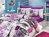 Paris Home 100% Cotton 4-pieces Comforter Set Single Twin Size Eiffel Tower Vintage Purple Bedding Set Quilt Doona Cover Sheets