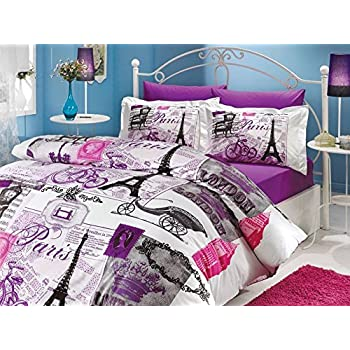 Charmant 100 Cotton 4pcs Paris Purple Single Twin Size Comforter Set Eiffel Vintage  Theme Bedding Linens
