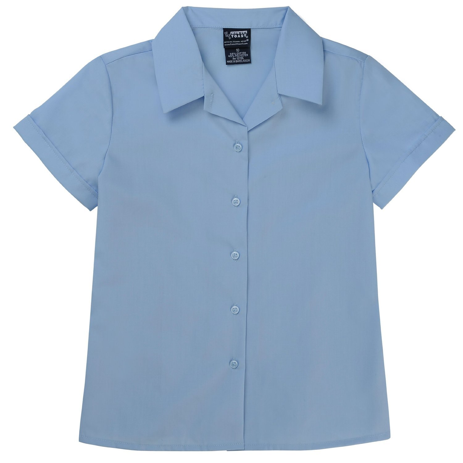 French Toast Big Girls Short Sleeve Pointy Collar Blouse (16, Blue) by French Toast (Image #1)