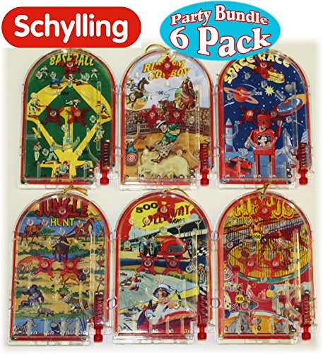 Matty's Toy Stop Schylling Classic Mini Pinball Games Party Favor Bundle Featuring Baseball, Space Race, Ride'Em Cowboy, Circus, 500 Speedway & Jungle Hunt - 6 Pack