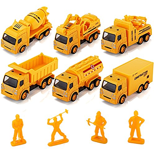 Toy cars Pullback Construction Truck Toys Tuko Alloy Die cast Construction Vehicles&Figures Sets for Kids Toddlers Boys Gift,Pull Back And Go Car Toy Play Set Mini Diecast Figures
