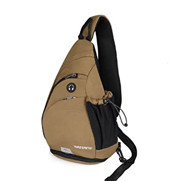 561b0accb WATERFLY Sling Backpack, Sling Bag Small Crossbody Daypack Casual Canvas Backpack  Chest Bag Rucksack Men