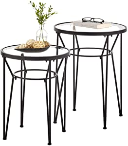 mDesign Round Metal & Glass in-Lay Accent Table with Hairpin Legs- Side/End Table - Decorative Legs, Glass Top - Home Decor Accent Furniture for Living Room, Bedroom - 2 Pack - Matte Black/Clear