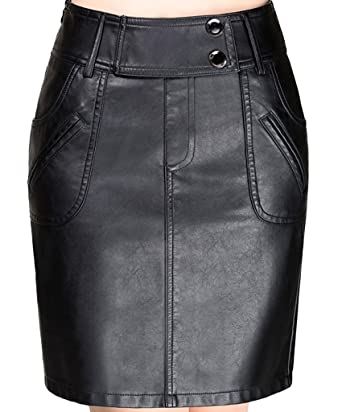 e510b861ffb0 Helan Femmes Taille haute poches Décoré PU cuir court Jupes  Amazon ...