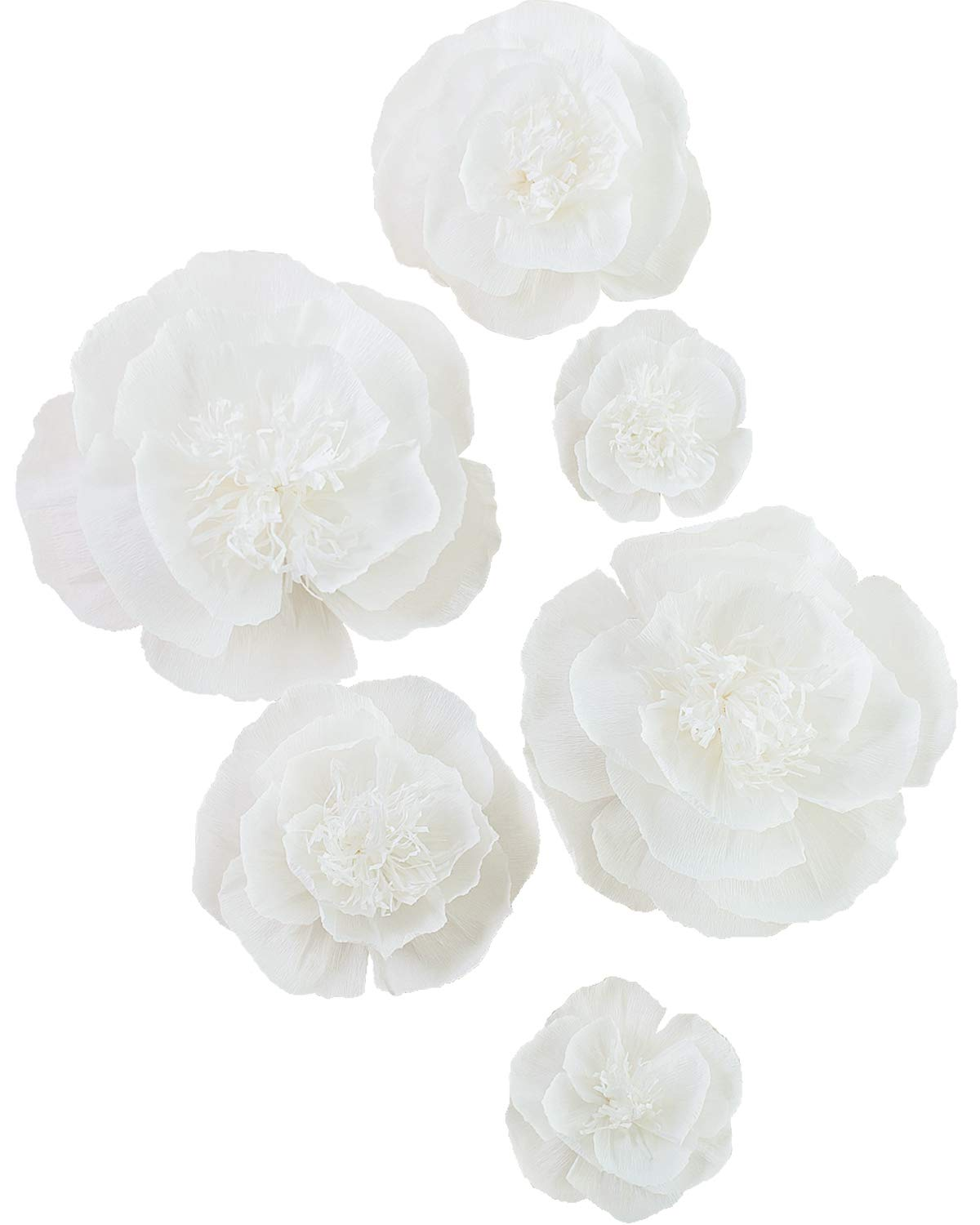 Giant Paper Flower Decorations for Wall White Paper Flower for Wall Ivory Crepe Paper Flower for Wedding Bouquets Centerpieces Arrangements Party Baby Shower Decorations Nursery Wall Decor(Set 6)