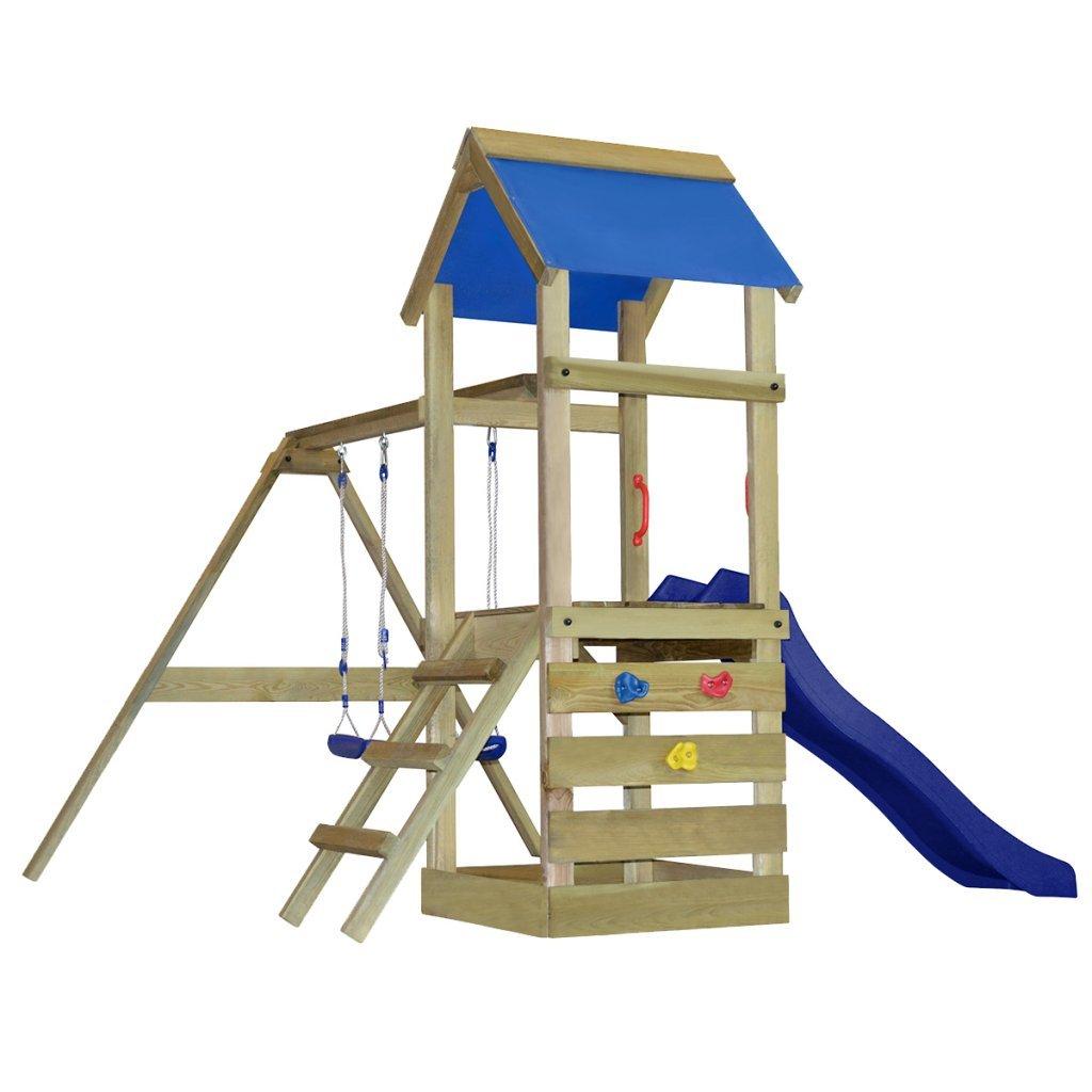 Spielturm aus Holz mit Leiter, Rutsche und Schaukeln S