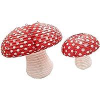 TOYANDONA 2pcs Mushroom Shaped Paper Lanterns for Fairy Party Hanging 3D Mushroom Backdrop for Baby Shower Nursery…