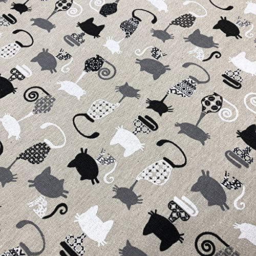 Tela por metros de loneta culla estampada digital - 100% algodón - Ancho 280 cm - Largo a elección de 50 en 50 cm | Gatos - Beige, gris, blanco, negro: Amazon.es: Hogar