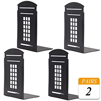Black-London VONDERSO Bookends London Telephone Booth Heavy Metal Non-Slip Durable Gift for Bookshelf Decor Home Office School Library