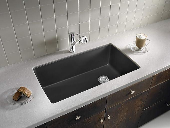 BLANCO 440194 Diamond Super Single Silgranit Drop-in or Undermount Kitchen  Sink, 32.5\
