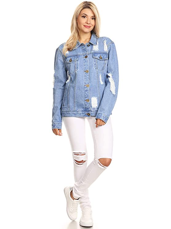 614ad6f4fb4 Anna-Kaci Womens Oversized Loose Jean Coats Long Sleeve Boyfriend Denim  Jacket Coat at Amazon Women s Coats Shop