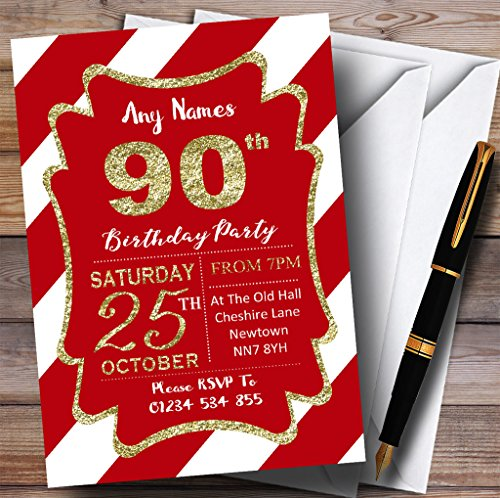 Red White Diagonal Stripes Gold 90th Personalized Birthday Party Invitations -