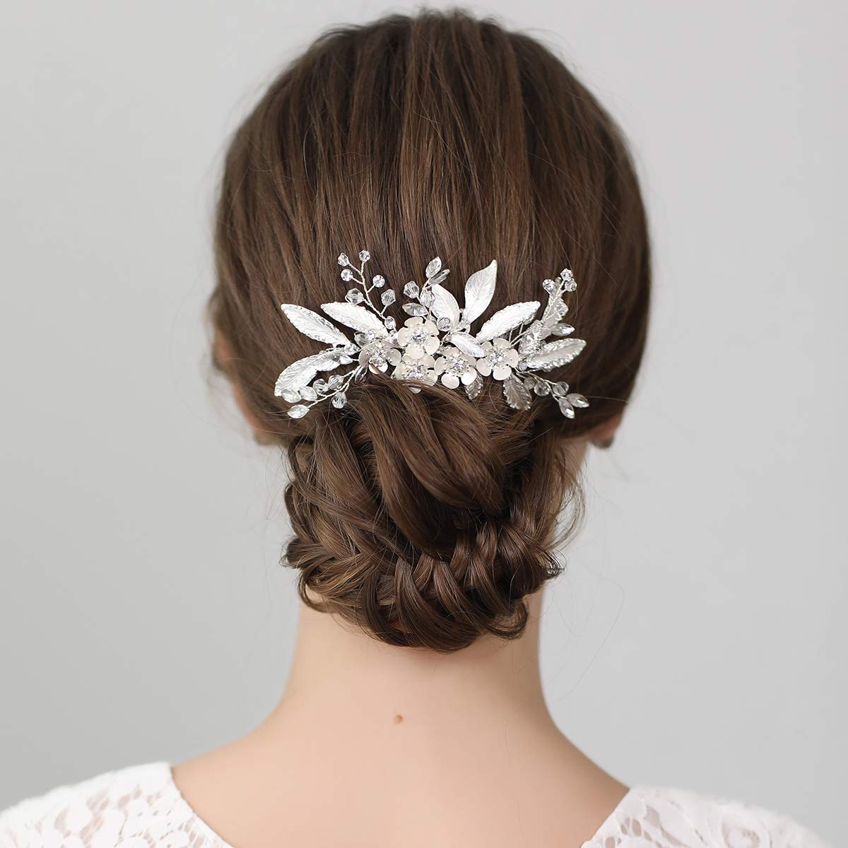 SWEETV Bridal Leaf Hair Comb Clip Silver Wedding Hair Accessories for Brides Wedding by SWEETV