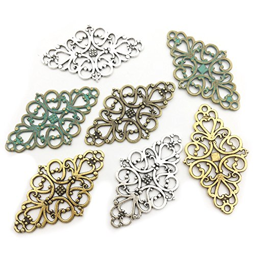 40pcs Craft Supplies Mixed Flower Scroll Links Lozenge Rhombus Wrap Connectors Charms Pendants for Crafting, Jewelry Findings Making Accessory For DIY Necklace Bracelet M58 (Rhombus Wraps Connector) -