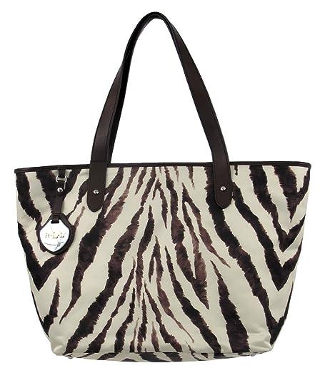 LAUREN Ralph Lauren Nylon Classic Tote (Zebra/Chestnut)