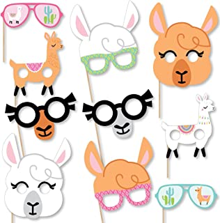 product image for Big Dot of Happiness Whole Llama Fun Glasses & Masks - Paper Card Stock Llama Fiesta Baby Shower or Birthday Party Photo Booth Props Kit - 10 Count