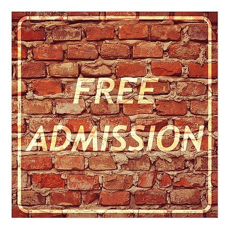 CGSignLab | ''Free Admission -Ghost Aged Brick'' Repositionable Opaque White 1st Surface Static-Cling Non-Adhesive Window Decal (5-Pack) | 24''x24'' by CGSignLab