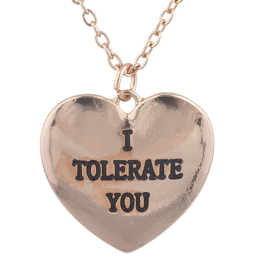 Lux Accessories Rose Goldtone I Tolerate u Kitschy Funny HeartPendant Necklace N272075-3-N3018