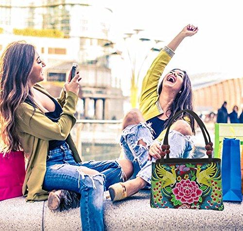 Girl 2 Peacock 2 Women with Layer Handbag for 2 Desgin Floral Handbag Bag Embroidered Desgin Shoulder Chinese Layer Layers Flower Handbag Embroidery Ethnic x7Uw881