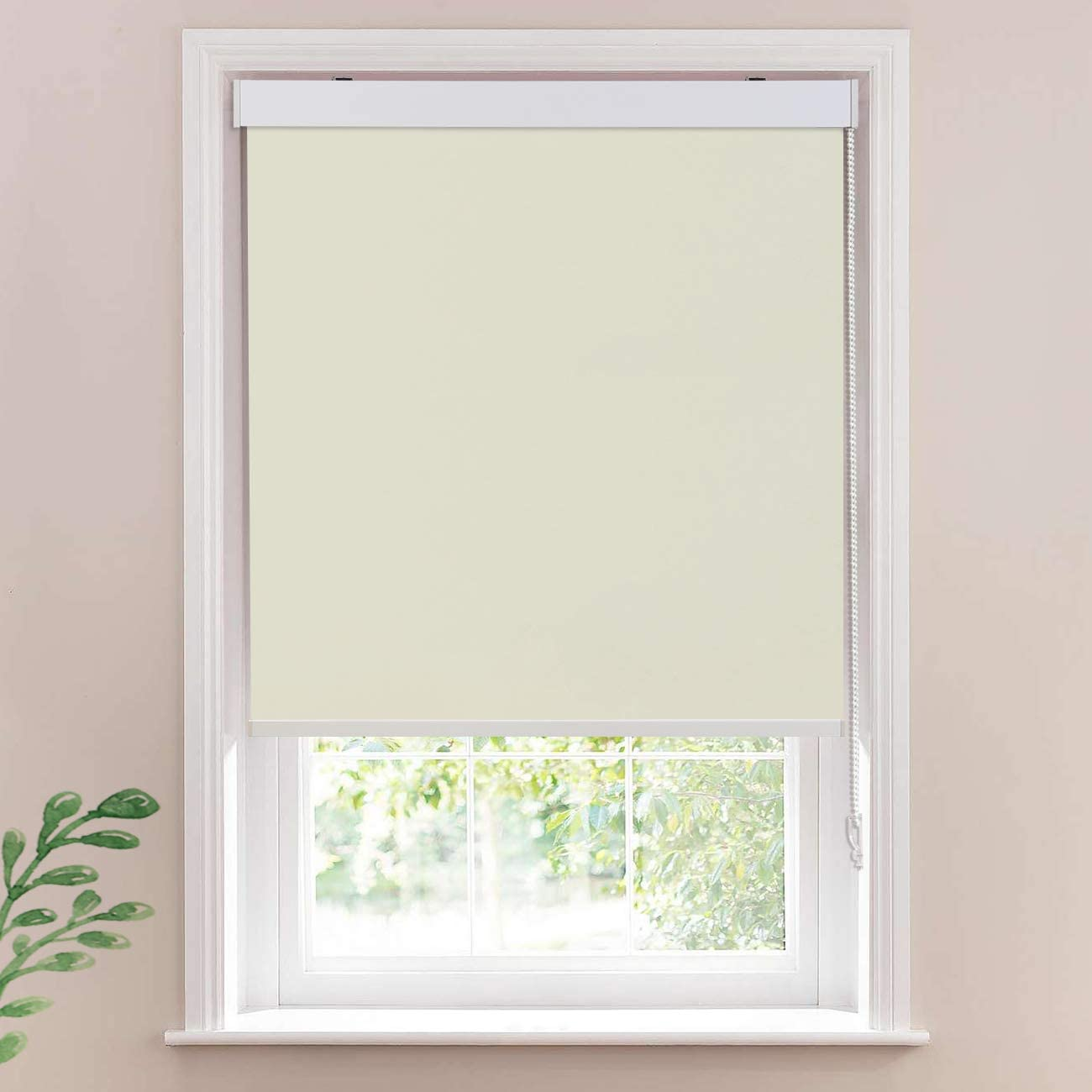 Keego Window Roller Blinds Office Blackout Window Shades, Room Darkning Bedroom Privacy Shades Thermal Insulated for Living Room Khaki 100 Blackout,40 W x 76 H Inch