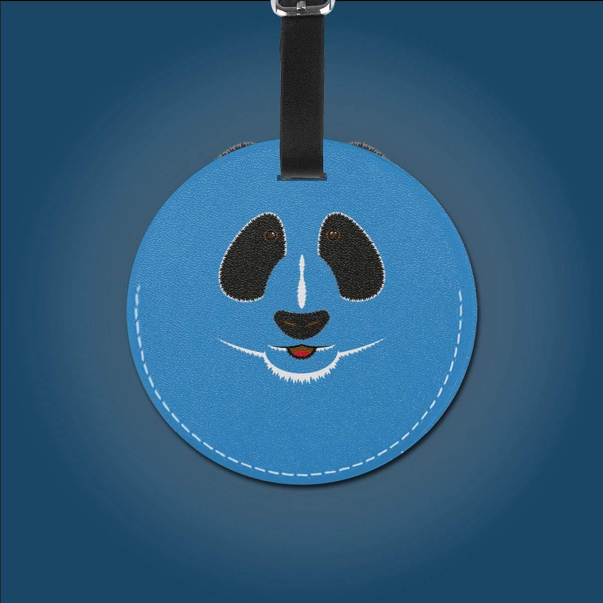 1pcs,2pcs,4pcs Panda Face Artwork Pu Leather Double Sides Print Round Luggage Tag Mutilple Packs