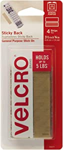 VELCRO Brand - Sticky Back Hook and Loop Fasteners | Perfect for Home or Office | 3 1/2in x 3/4in Strips | Pack of 4 | Beige