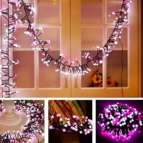 Globle String Lights, Decorations Light Jia Wei Indoor Lights, Waterproof Globe String Lights for Outdoor Indoor Garden Backyard Party Decoration (Pink) (Rattan Bookcase Wide)