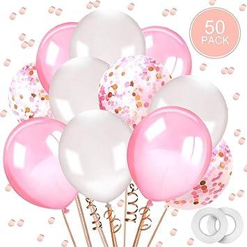 Globos rosa y blanco,AivaTobGlobos de Confeti Globos de látex de 50 piezas 12 Fiesta para la boda, decoración de cumpleaños, baby shower, día de San ...