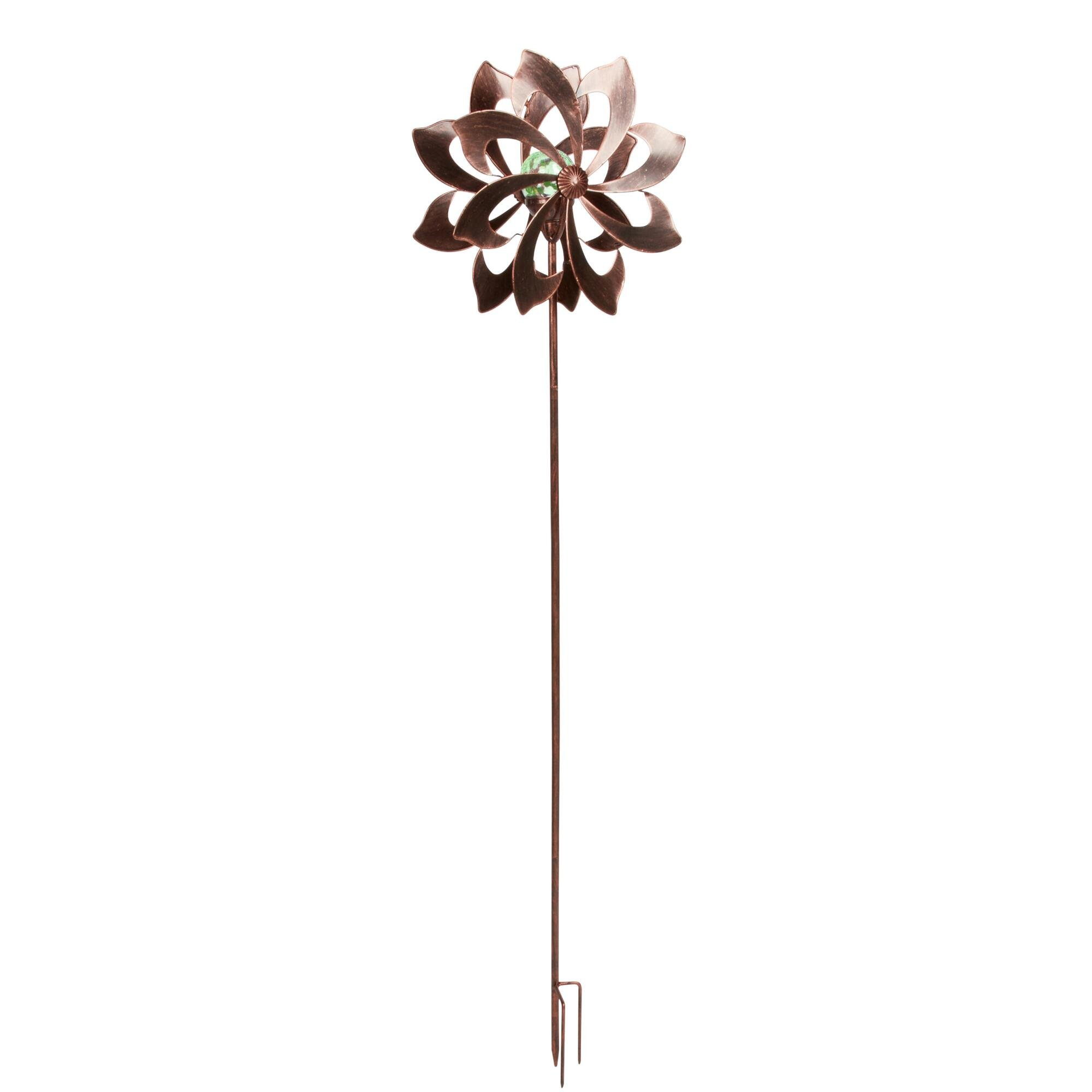 "60"" Copper Flower Solar Wind Spinner Garden Stake"