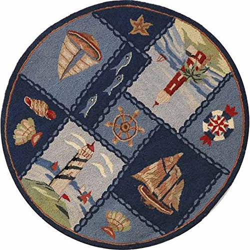 Safavieh Chelsea Collection HK267A Hand-Hooked Blue Premium Wool Round Area Rug (3′ Diameter) Review