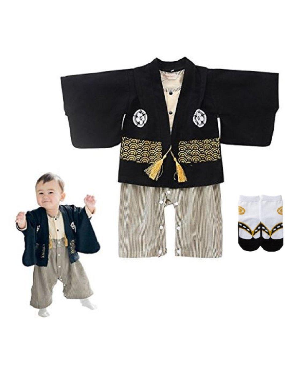 Baby toddler celebration costume for boys (Japanese Kimono) Japanese style socks included,Black Gold,12 Months - 18Months