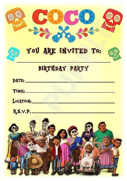 Disney Coco - Invitaciones para fiesta de cumpleaños (tamaño ...