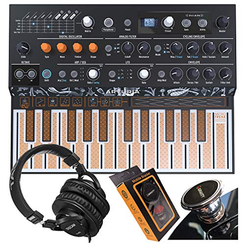Arturia MicroFreak Hybrid Synthesizer 25-Key Paraphonic Hybrid Hardware Synth with Poly-aftertouch Flat Keyboard, Wavetable with Gravity Phone Holder and Pro Headphone Bundle
