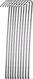 Pinnacle Mercantile 10 Pack Tent Stakes Metal Garden Edging Fence Hooks Pegs Christmas Decoration Stakes Made USA 9 inches Long
