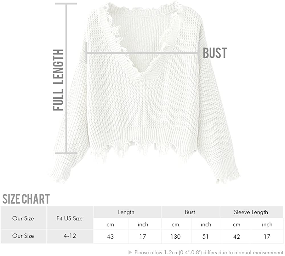 ZAFUL Womens Loose Long Sleeve V-Neck Ripped Pullover Knit Sweater Crop Top