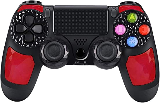 SANROYCA Mando para Playstation 4 Inalámbrico Wireless de Alta Callidad, con DoubleShock 4 y Batería de lítio 1.000 mAh. Compatible con Play4/Slim/Pro, PC Windows y PS TV/Smart TV. (Rojo): Amazon.es: Electrónica
