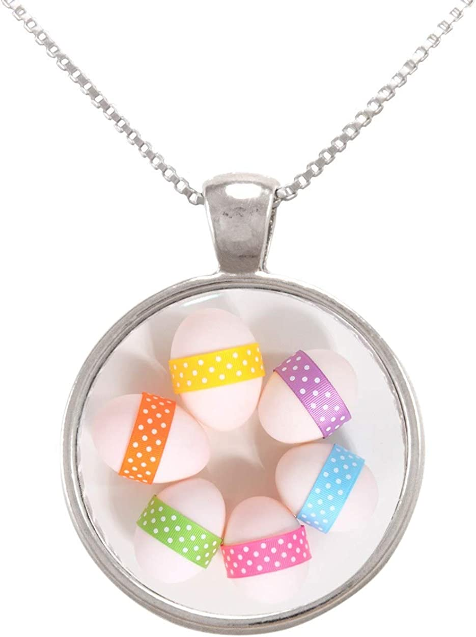 Arthwick Store Photograph of Easter Eggs in a Circle Pendant Necklace